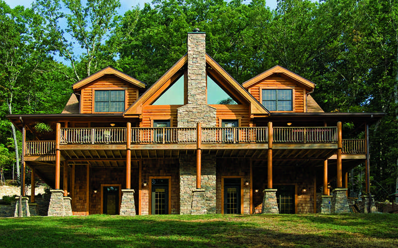 North Carolina log home exterior deck patio
