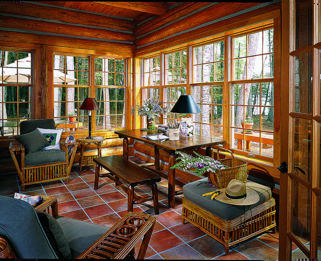 log home sunroom