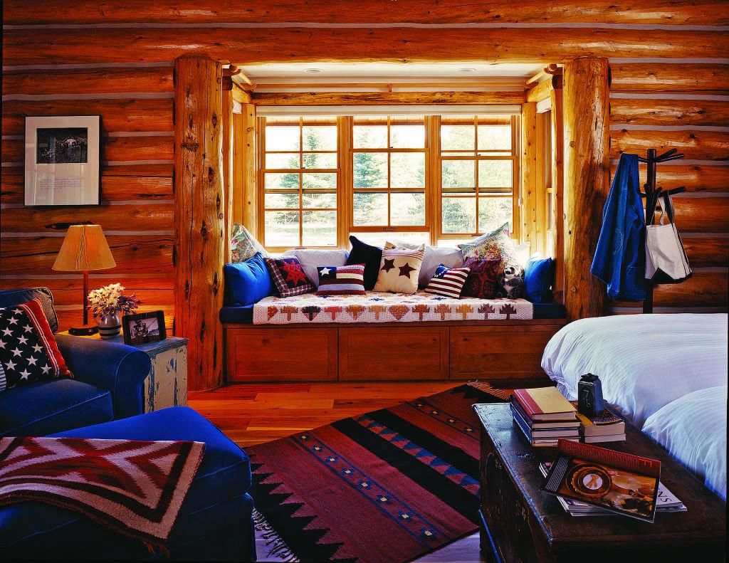 log home reading nook