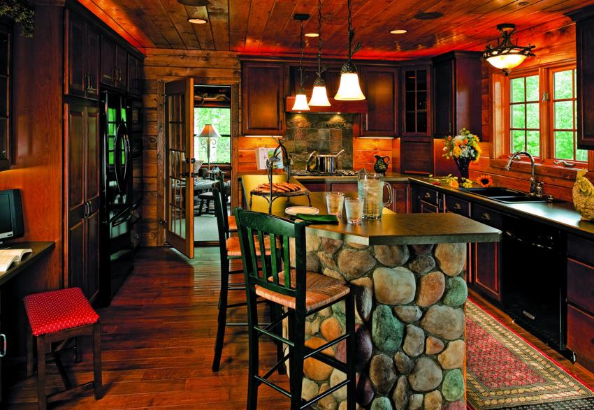 half-log home kitchen