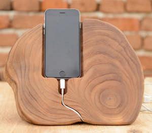 solid oak charging dock