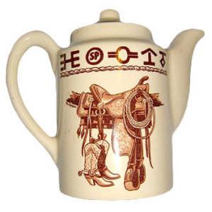boots n saddle tea pot