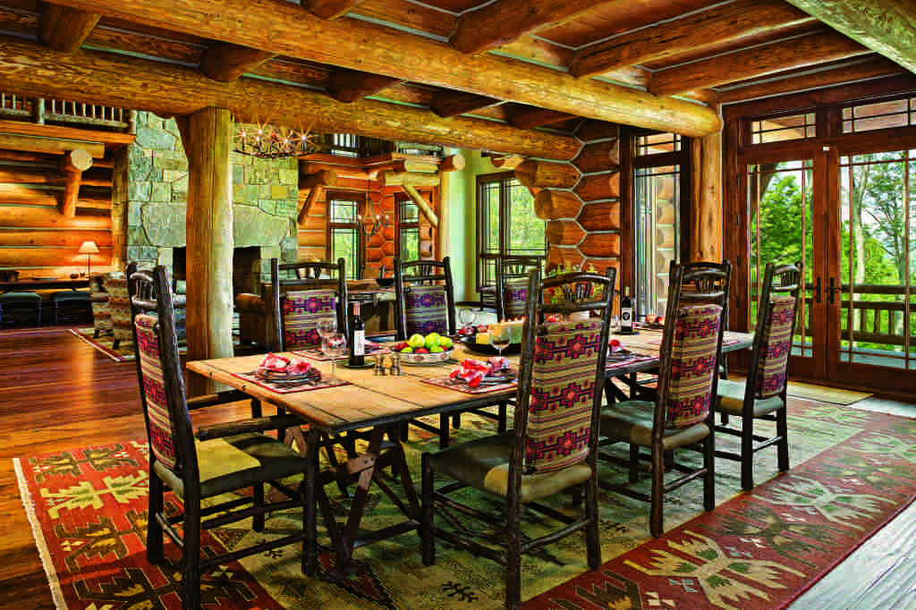 log home dining space