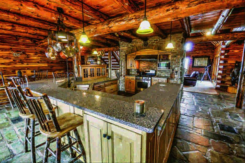 restored log home kitchen