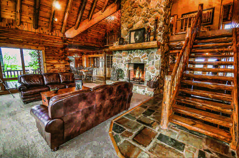 restored log home great room