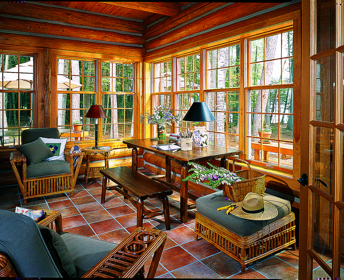 life in a log home sunroom