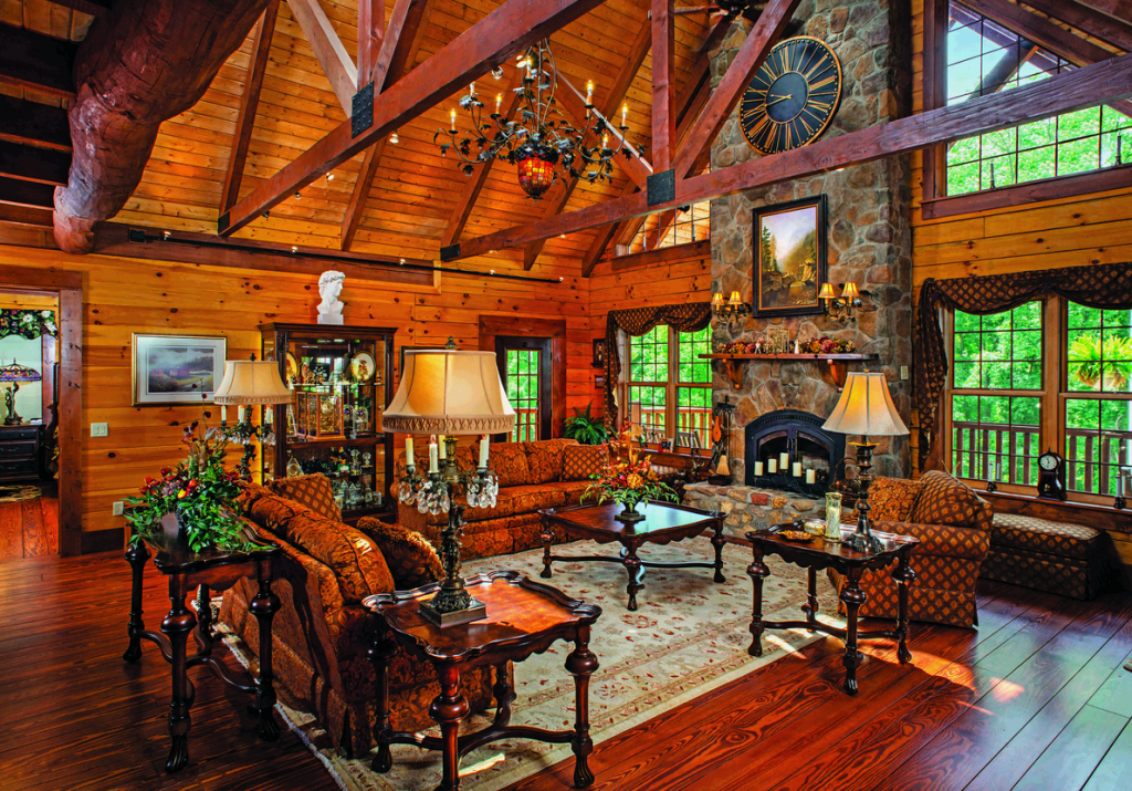7 More-Than-Great Log Home Great Rooms on front porch with columns designs, farm designs, cottage designs, log countertop ideas, farmhouse designs, log furniture, log building, bungalow designs, bouquet floral designs, cabin designs, view front house designs, log siding, modular designs, log art, kitchen designs, dutch designs, log fence design, stilt house designs, log dream homes, log modular homes,