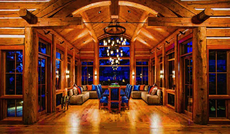 montana mountain retreat dining room
