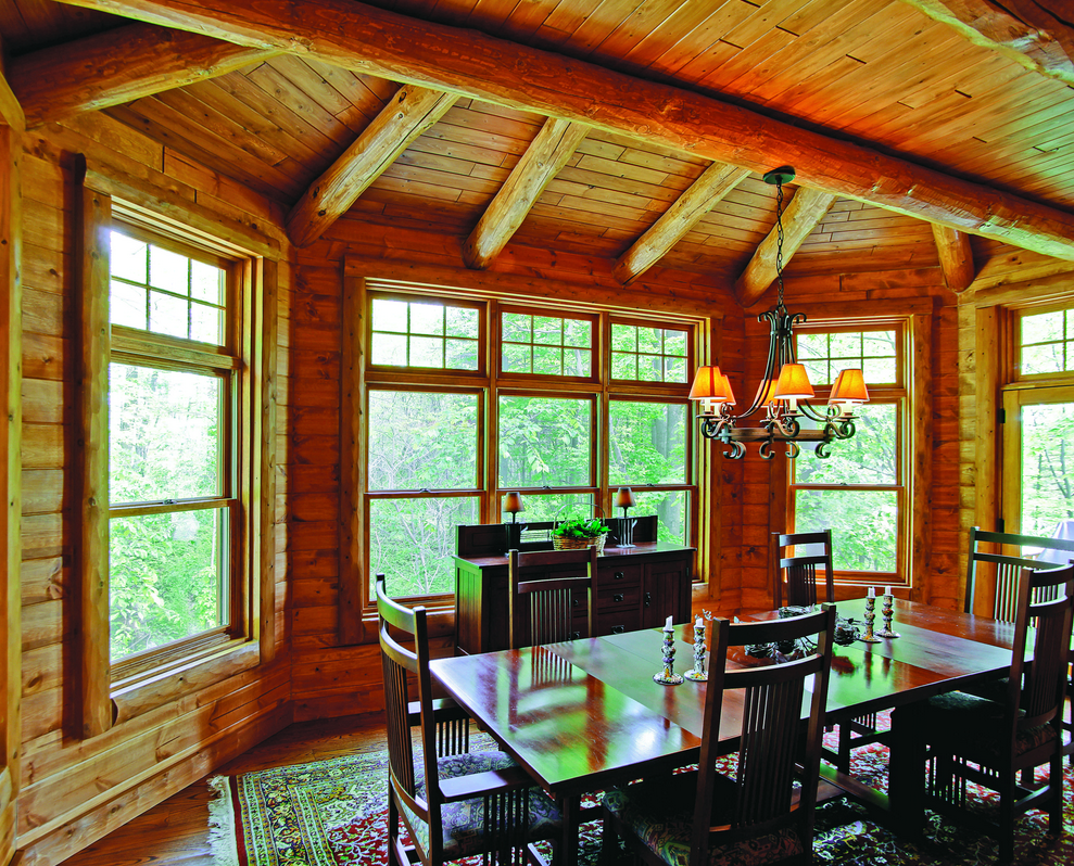 Lakeside Log Home Dining Room