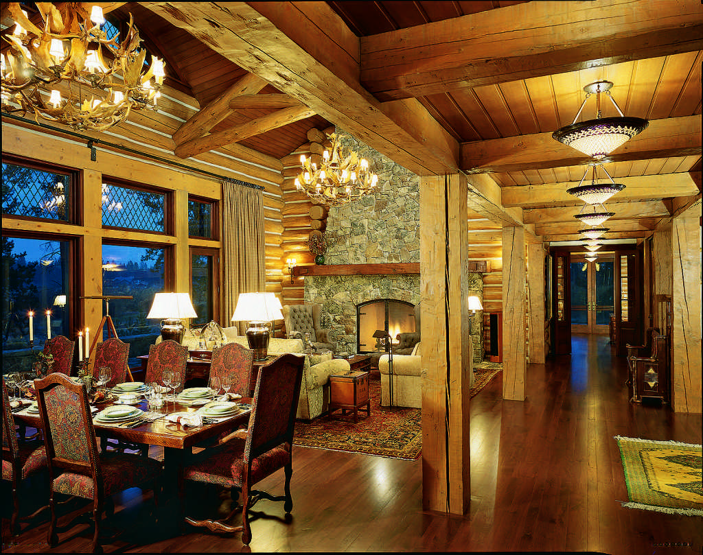 log home lighting interior