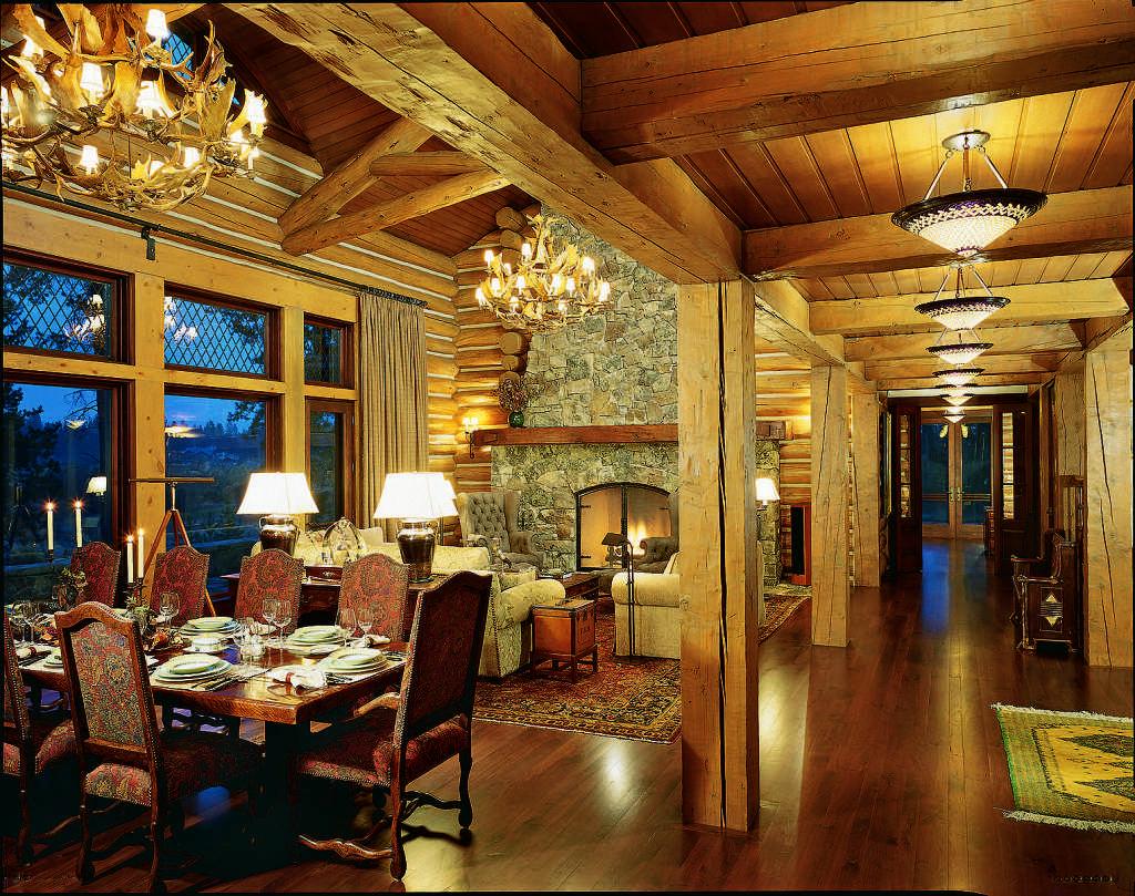 log home lighting interior