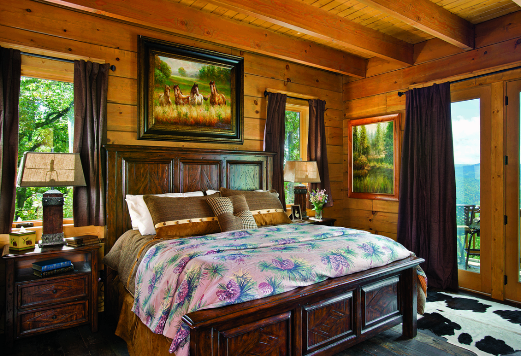 7 log home bedrooms of your dreams for Www loghome com