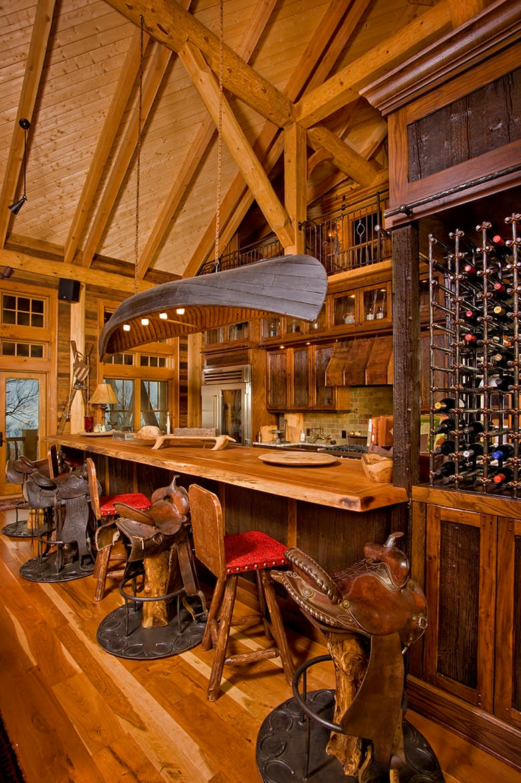 natural elements log home wine bar