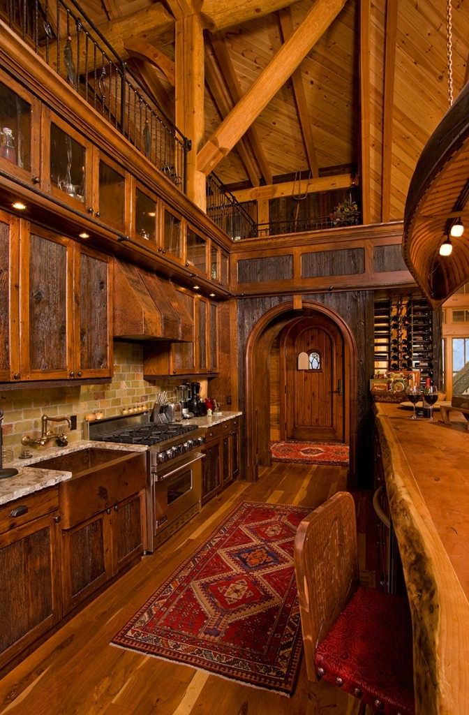 hybrid log home kitchen bar wine