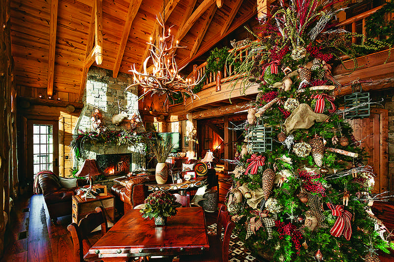 festive log homes get into the holiday spirit