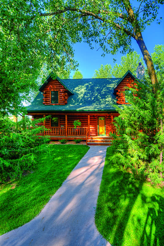 waterfront log home exterior