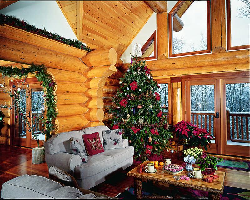 log home interior great room christmas tree