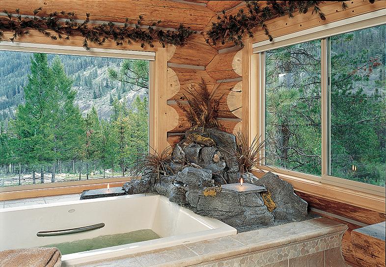 log home bathroom bathtub windows