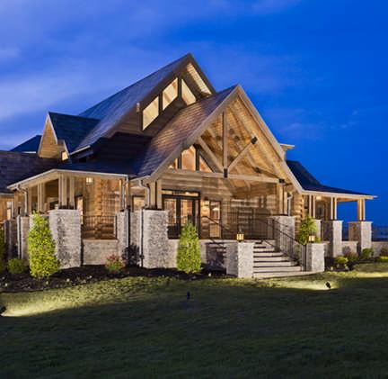 Let There Be Light! Log Home Exterior Lighting Ideas   The Log Home  Neighborhood