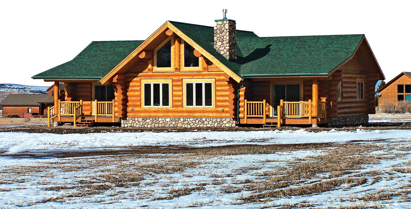log home cabin green roof snow