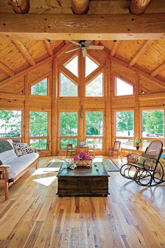 log home windows great room logs wood beams furniture living room