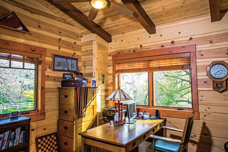 white pine log ranch office clock desk wood beams