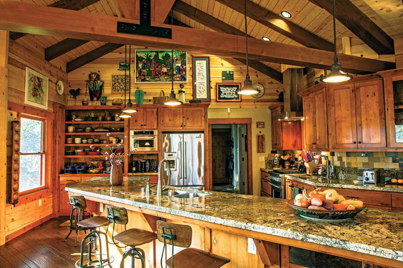 white pine log ranch kitchen counters