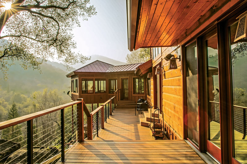 white pine log ranch redwood forest deck patio