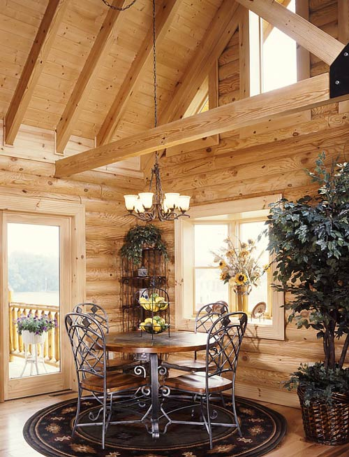 log home dining room western Pennsylvania
