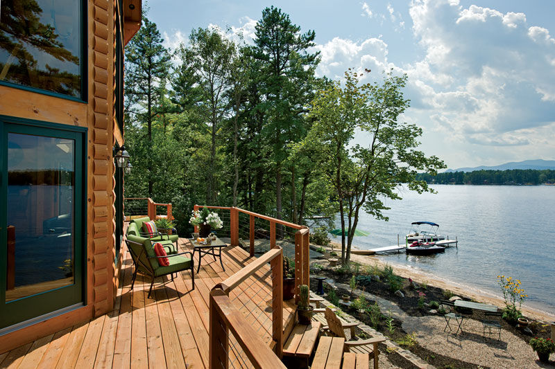 early retirement log home deck