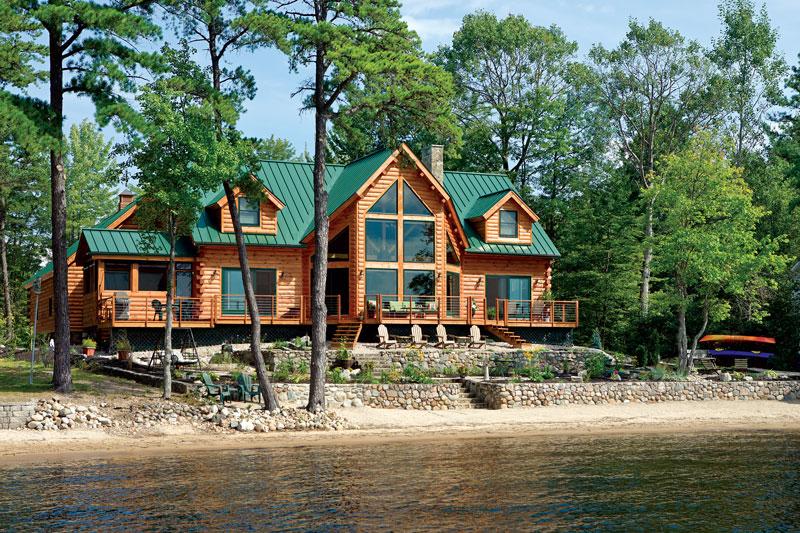 lakeside log home