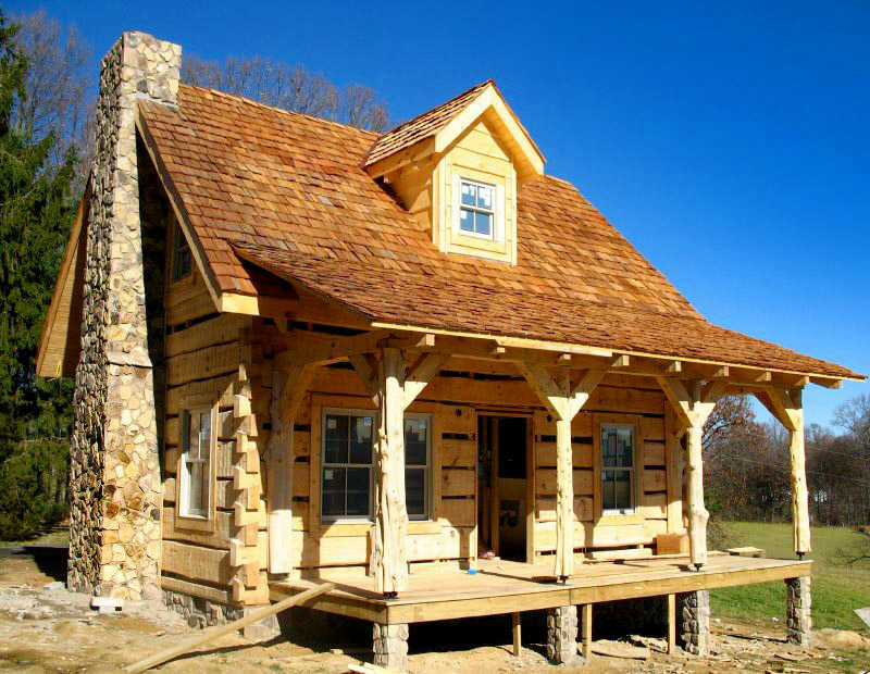 cabin with cedar shakes roofing