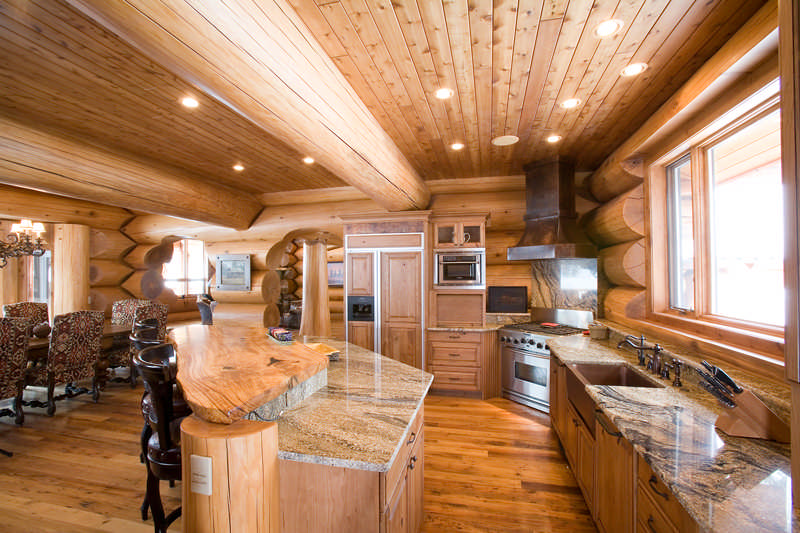 Cedar beam fireplace cedar post and beam pool house with for Www loghome com