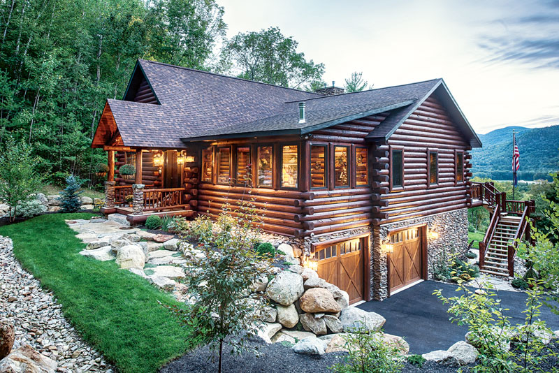 A mountain log home in new hampshire for Butt and pass log home