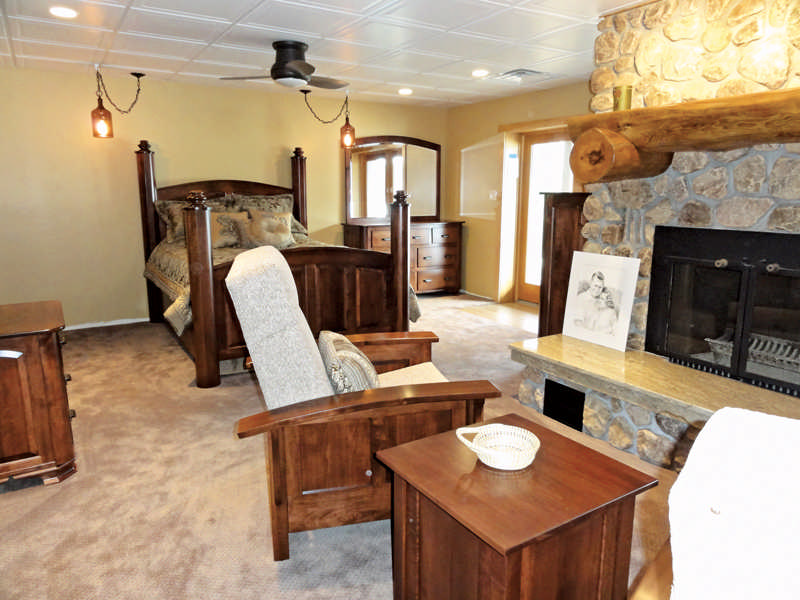 log home basement furniture fireplace