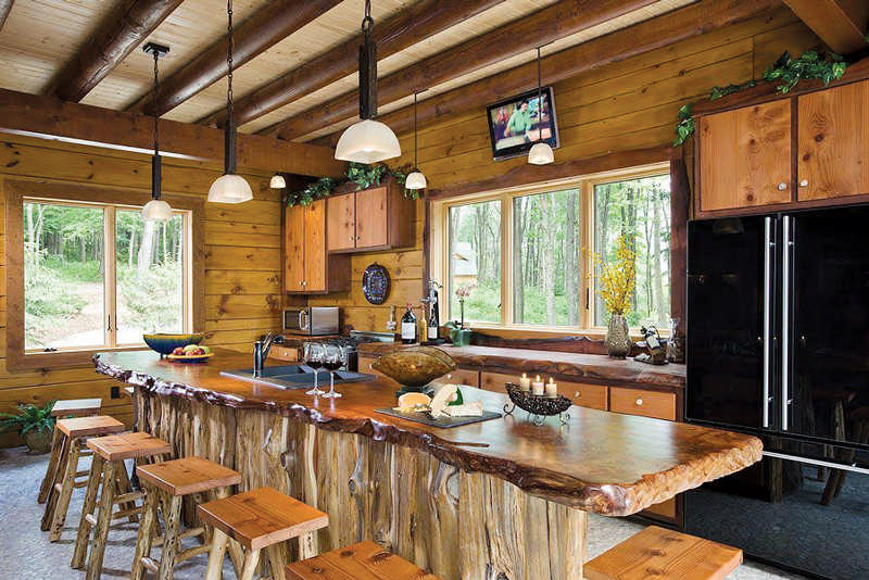 log home kitchen countertop