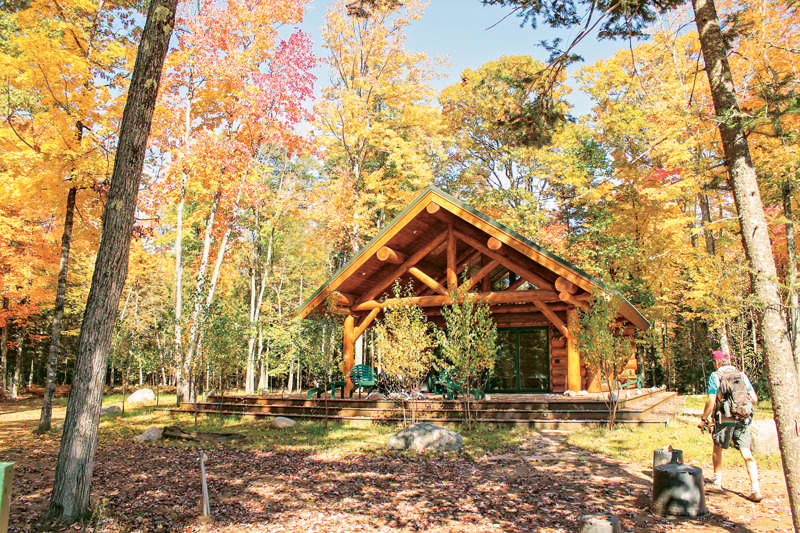 A Michigan log cabin in fall