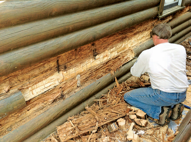 The face of damaged or rotted logs can be surgically removed and re-faced so the blend in seamlessly.