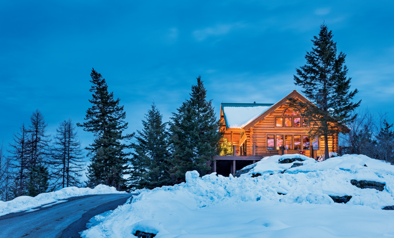 A majestic log home built with big logs for Www loghome com