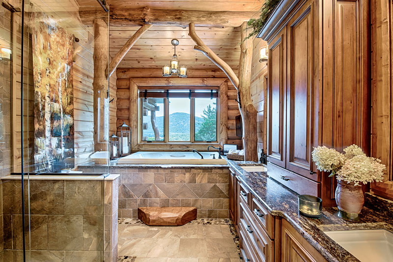 6 Relaxing Log Home Bathrooms