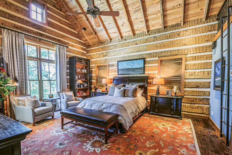 This 17 By 30 Foot Master Bedroom In The Main Cottage Has Random Width,  Kiln Dried Hand Hewn And Distressed Eastern White Pine Log Siding On The  Interior ...
