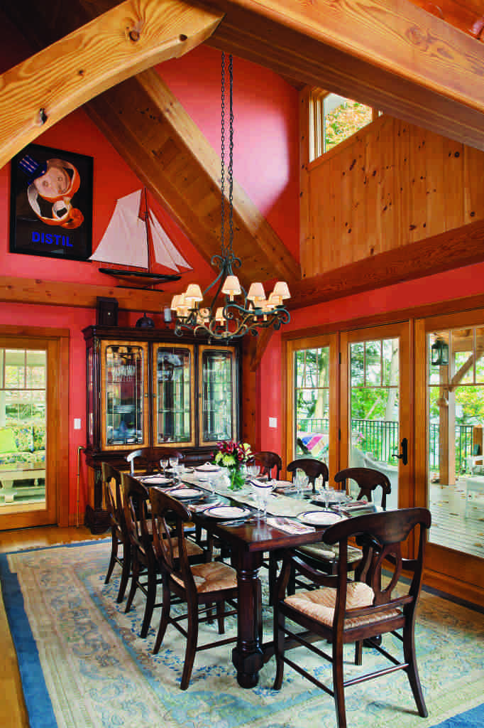 New York timber home red walls dining room