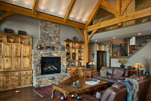 Contrast the colors on your walls and ceiling for added visual interest. Photo by Roger Wade. Home by Riverbend Timber Framing.