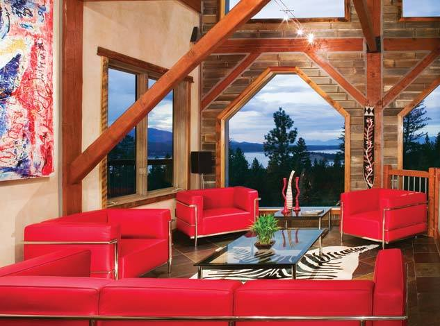 Mixing and matching styles and colors can work in a timber home.