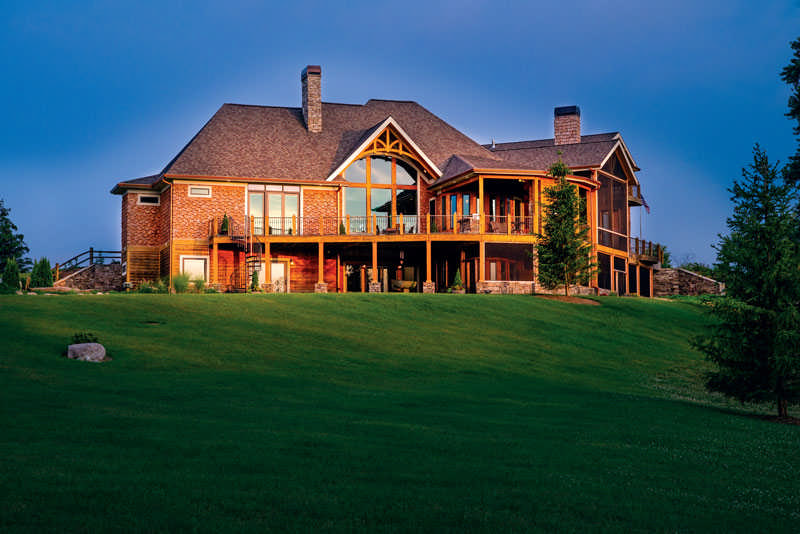 Set atop a hill, the 8,200-square-foot home affords breathtaking views of the pond, meadows and wetlands. A passion for hunting runs in the family, so they're thrilled with the wildlife that makes regular appearances.