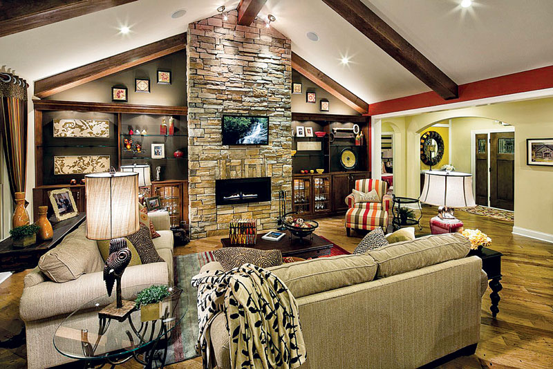 built ins living room fireplace