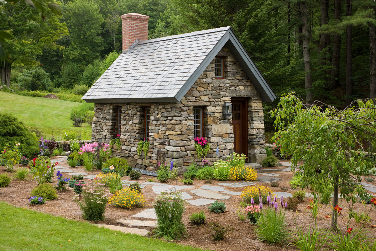 Small stone cottage in new hampshire for Small pond house plans