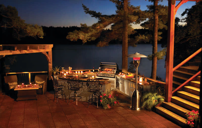 outdoor kitchen water on the lake nighttime
