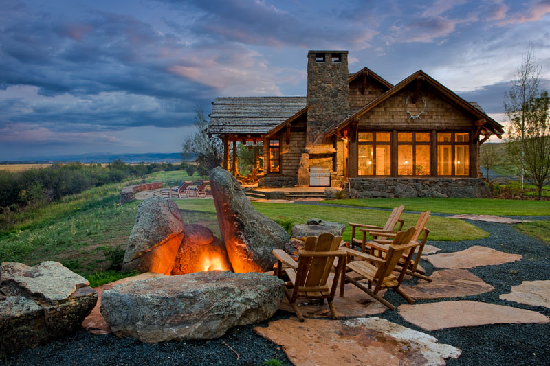 cabin firepit fireplace bonfire boulders rocks
