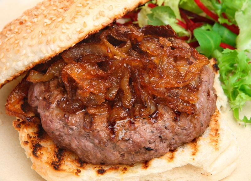 burger bun caramelized onions